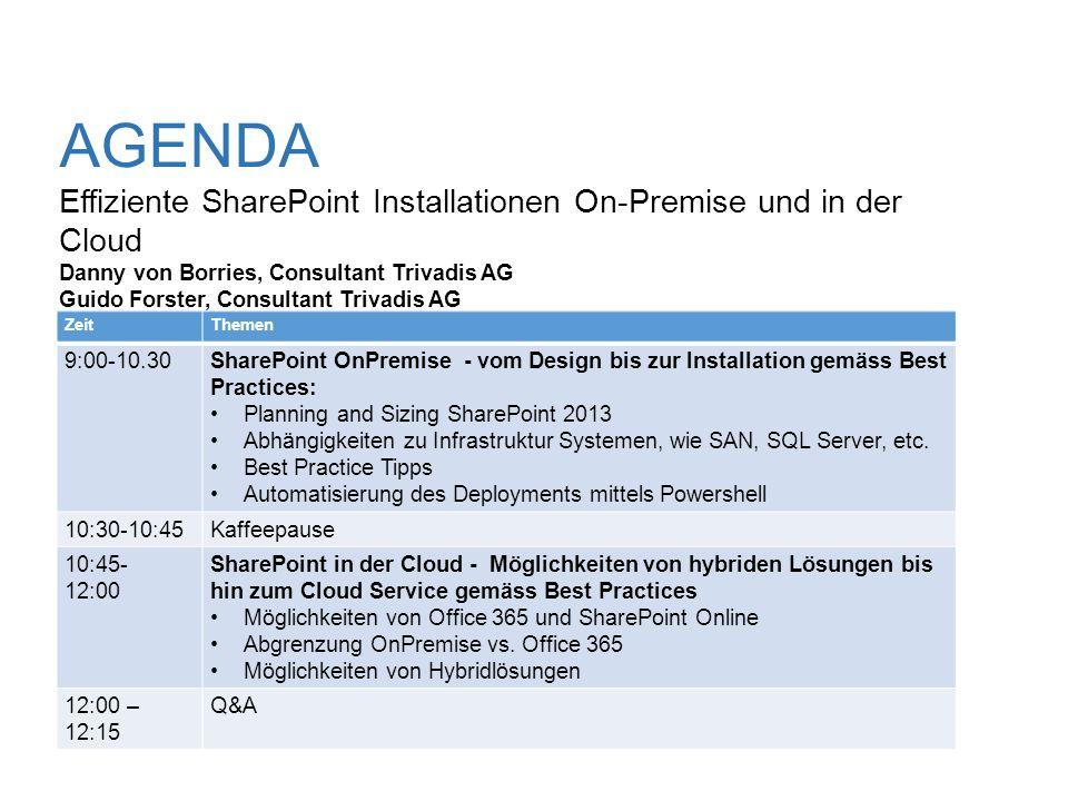 AGENDA Effiziente SharePoint Installationen On-Premise und in der Cloud Danny von Borries, Consultant Trivadis AG Guido Forster, Consultant Trivadis AG