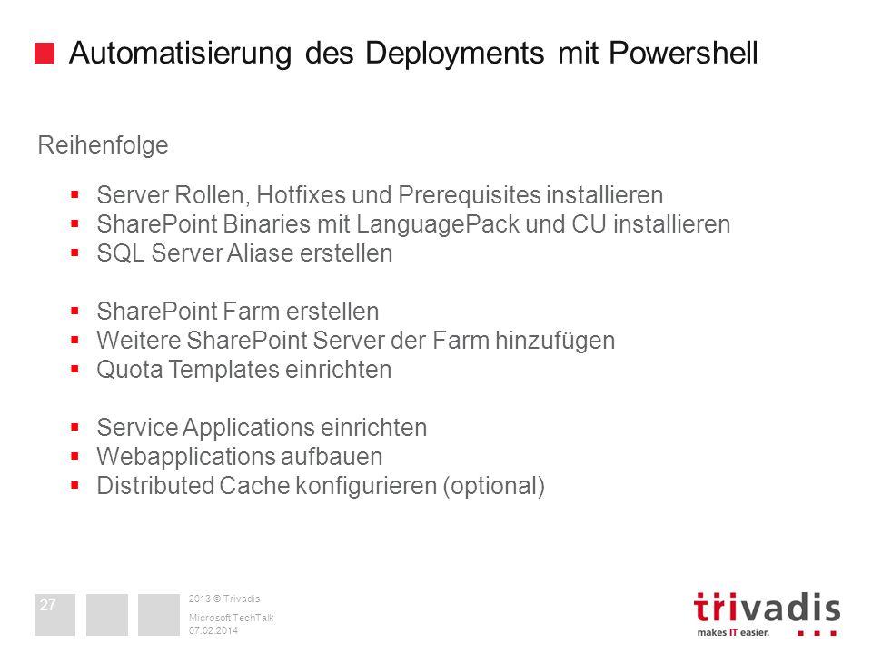 Automatisierung des Deployments mit Powershell