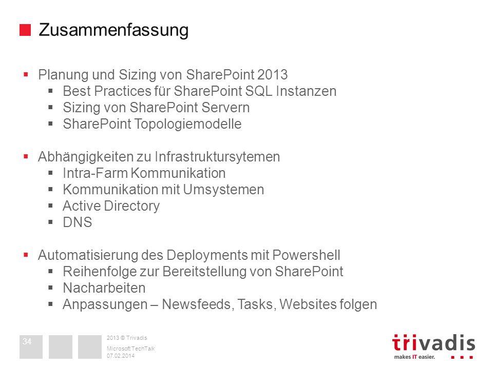 Zusammenfassung Planung und Sizing von SharePoint 2013