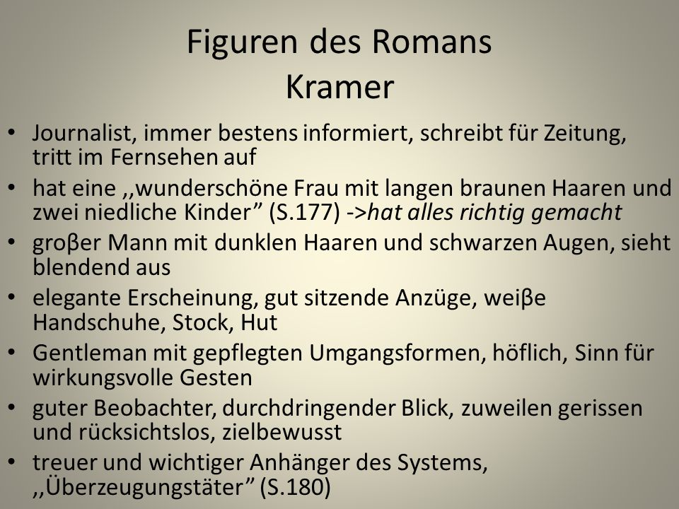 Figuren des Romans Kramer