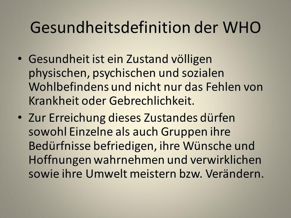 Gesundheitsdefinition der WHO