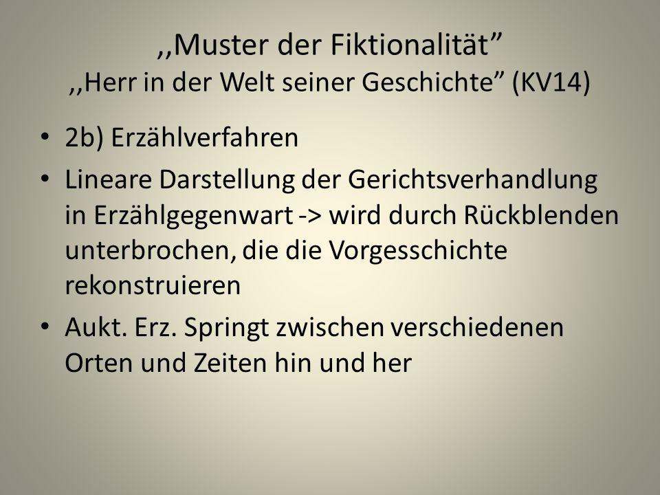 ,,Muster der Fiktionalität ,,Herr in der Welt seiner Geschichte (KV14)