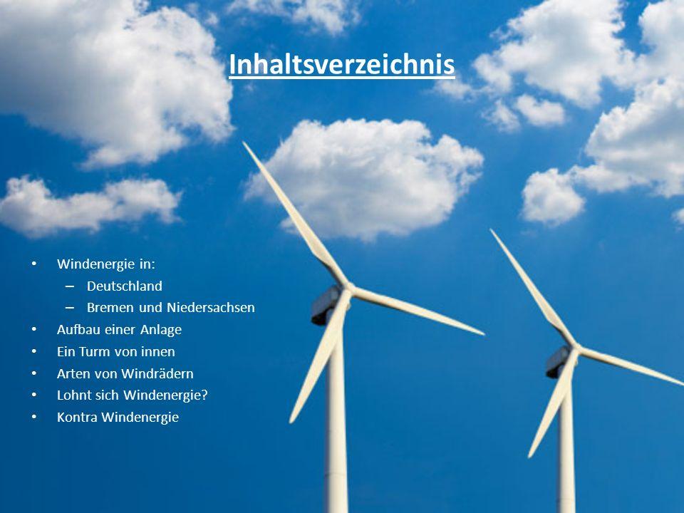 Inhaltsverzeichnis Windenergie in: Deutschland
