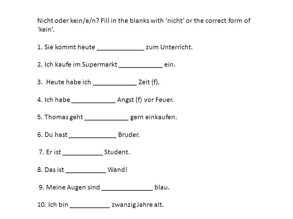 Nicht oder kein/e/n Fill in the blanks with 'nicht' or the correct form of 'kein'.
