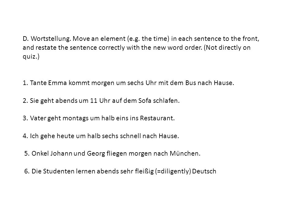 D. Wortstellung. Move an element (e. g
