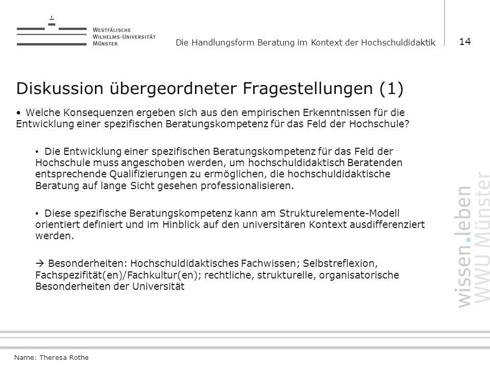 Diskussion übergeordneter Fragestellungen (1)