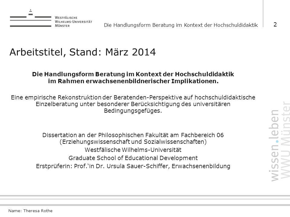 Arbeitstitel, Stand: März 2014