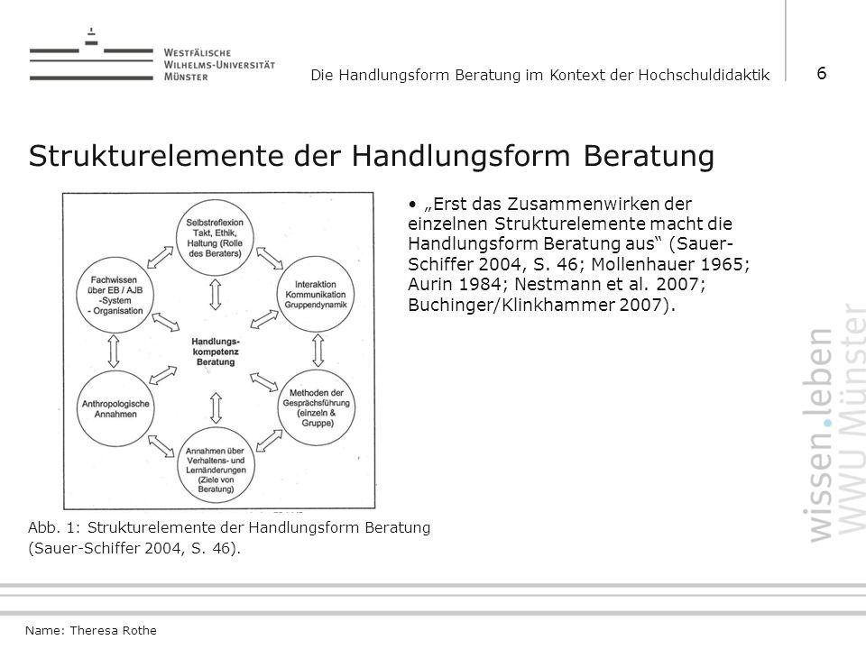 Strukturelemente der Handlungsform Beratung