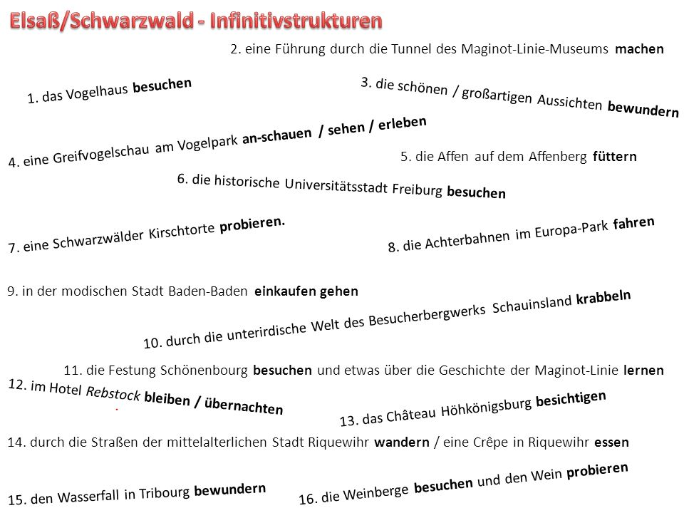Elsaß/Schwarzwald - Infinitivstrukturen
