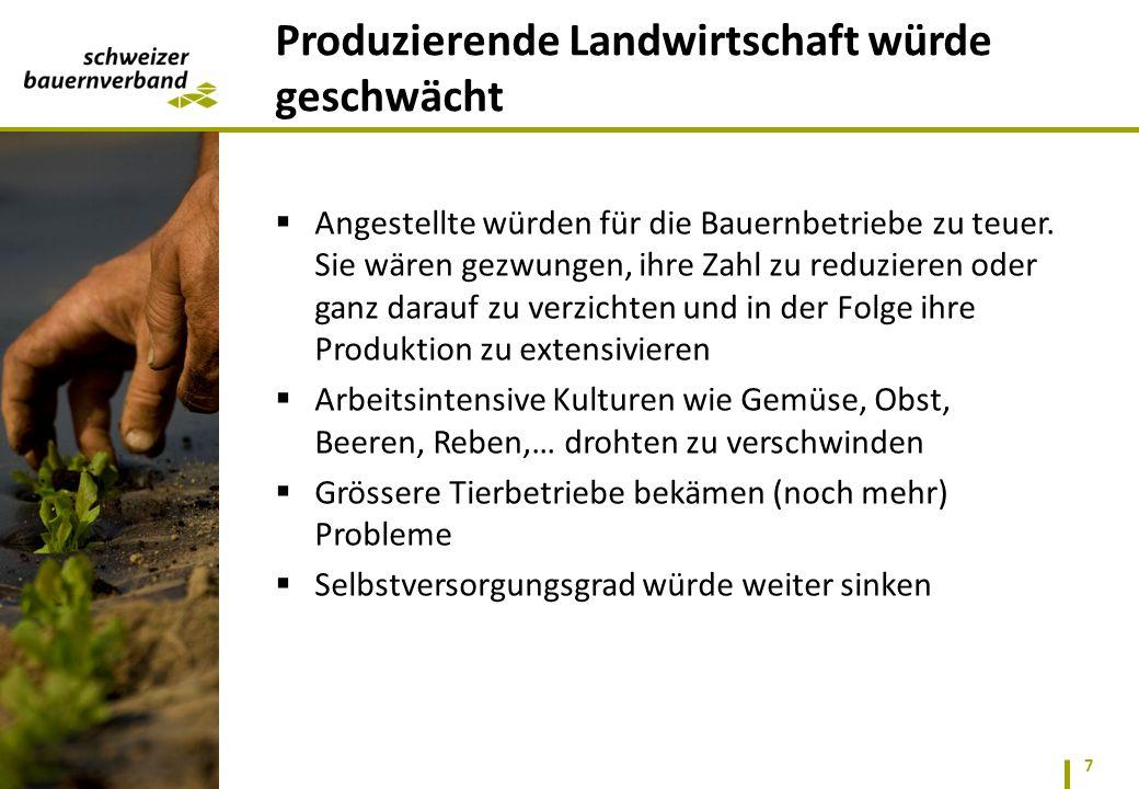 Produzierende Landwirtschaft würde geschwächt