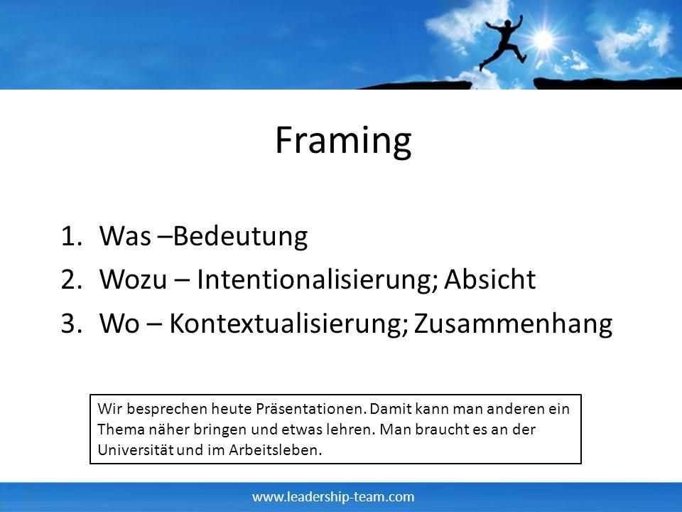 Framing Was –Bedeutung Wozu – Intentionalisierung; Absicht