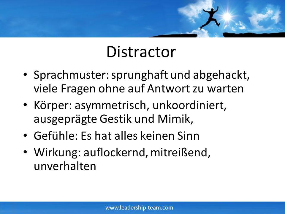 Distractor Sprachmuster: sprunghaft und abgehackt, viele Fragen ohne auf Antwort zu warten.