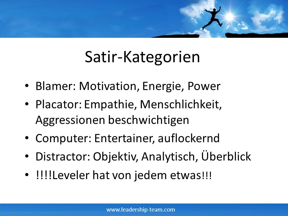 Satir-Kategorien Blamer: Motivation, Energie, Power
