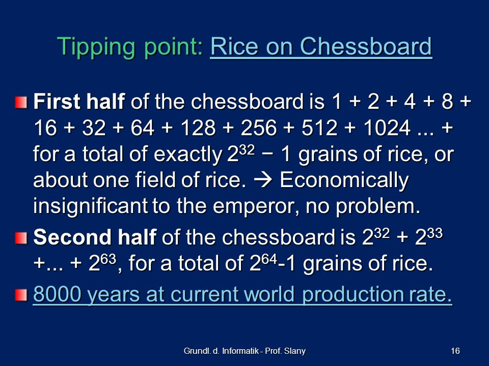 Tipping point: Rice on Chessboard