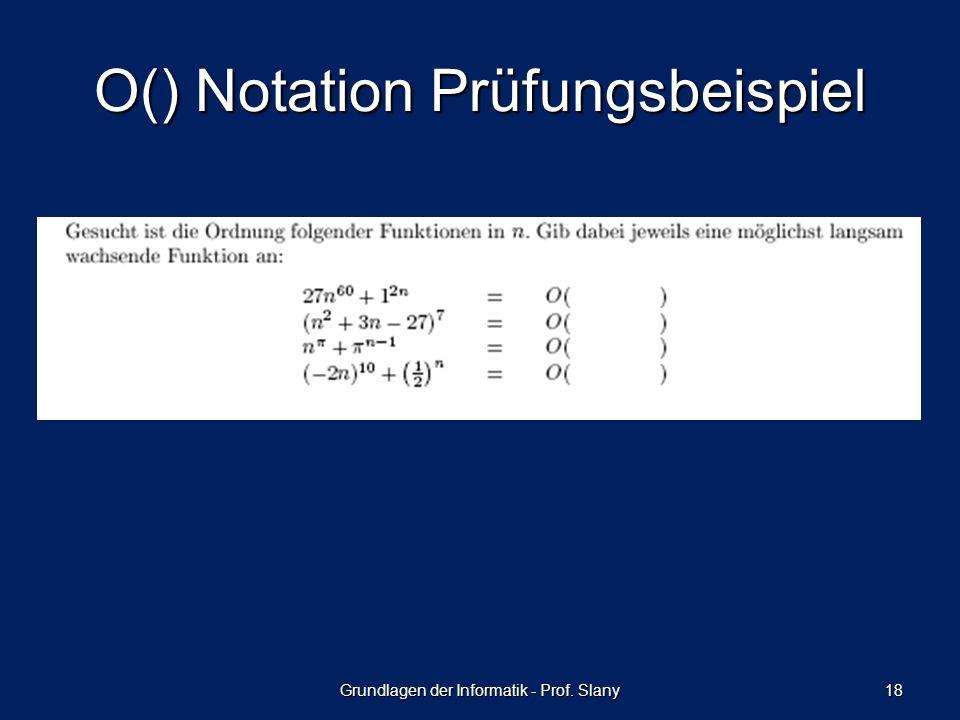 O() Notation Prüfungsbeispiel