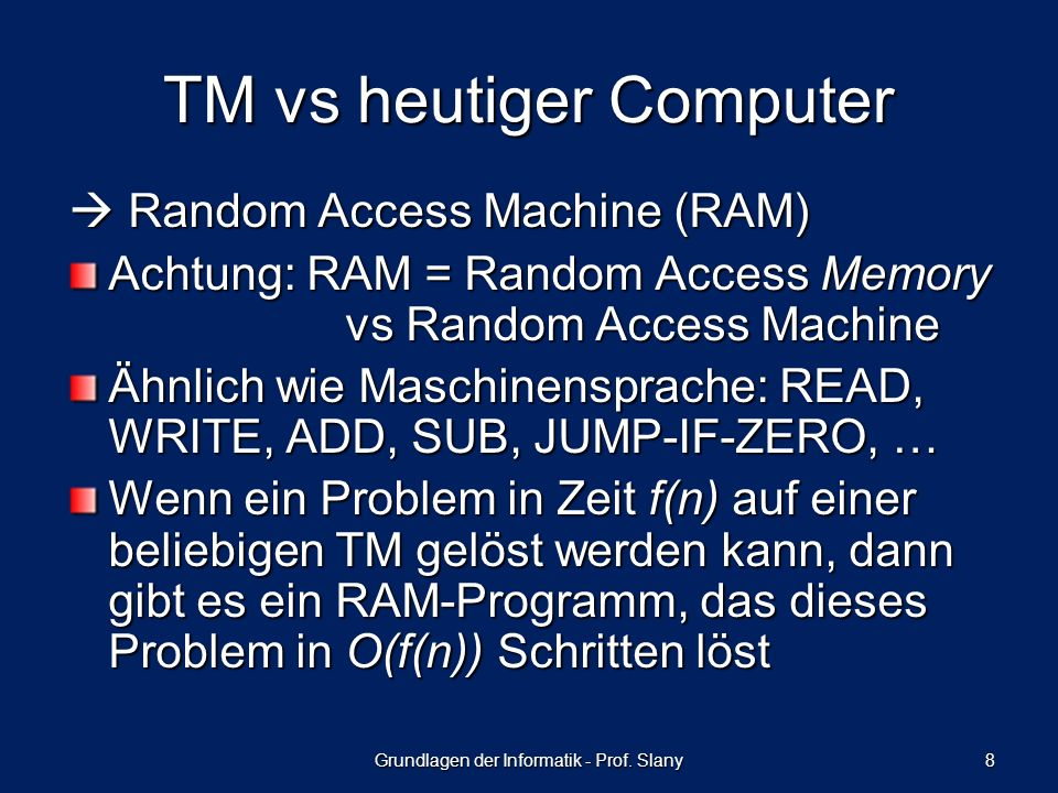 TM vs heutiger Computer