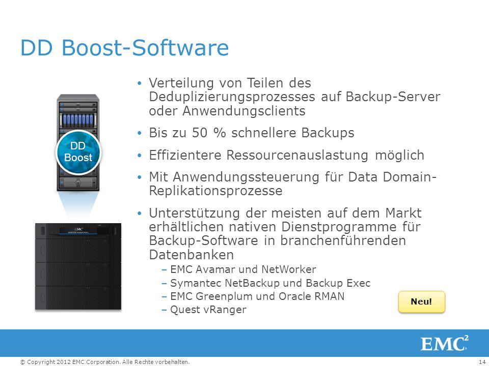 DD Boost-Software Verteilung von Teilen des Deduplizierungsprozesses auf Backup-Server oder Anwendungsclients.