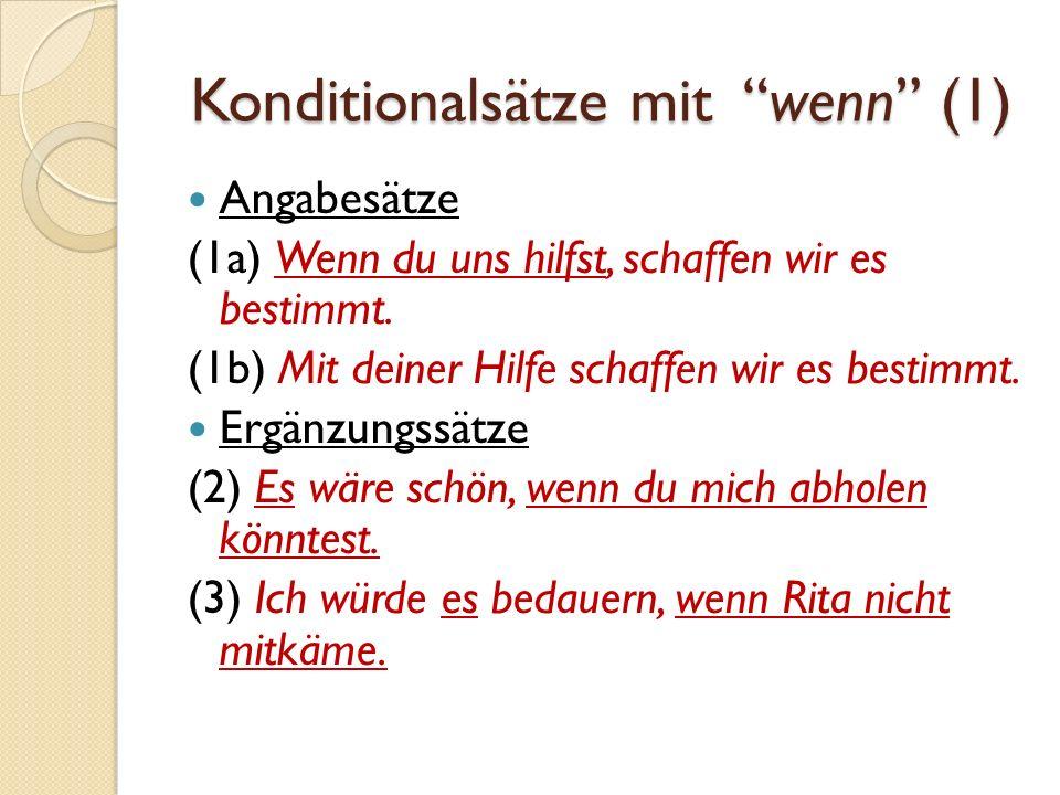 Konditionalsätze mit wenn (1)