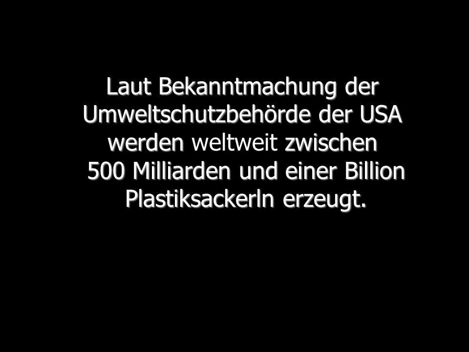 Laut Bekanntmachung der Umweltschutzbehörde der USA werden weltweit zwischen 500 Milliarden und einer Billion Plastiksackerln erzeugt.