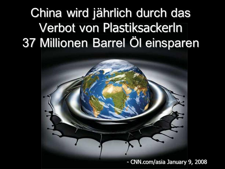 China wird jährlich durch das Verbot von Plastiksackerln 37 Millionen Barrel Öl einsparen