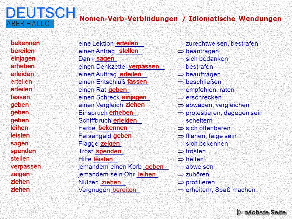 DEUTSCH Nomen-Verb-Verbindungen / Idiomatische Wendungen bekennen