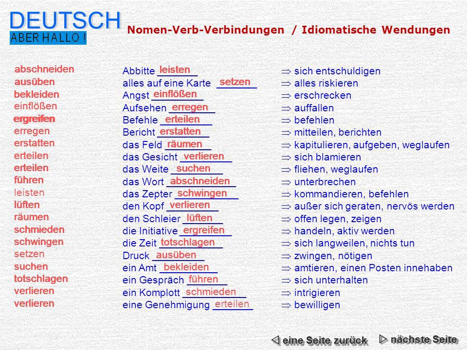 DEUTSCH Nomen-Verb-Verbindungen / Idiomatische Wendungen lüften