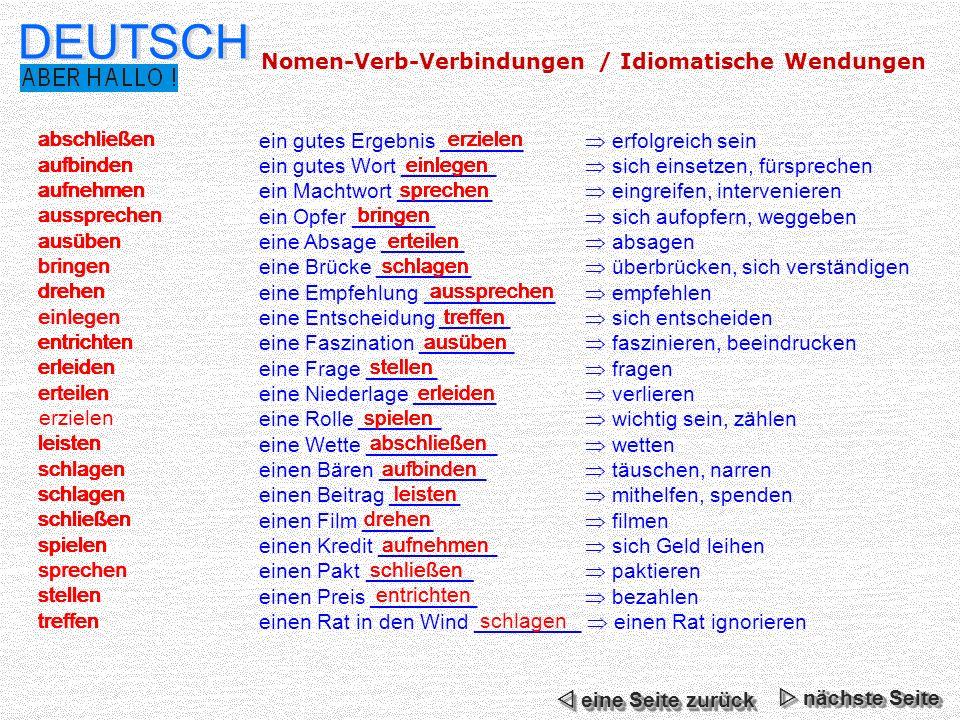 DEUTSCH Nomen-Verb-Verbindungen / Idiomatische Wendungen erzielen