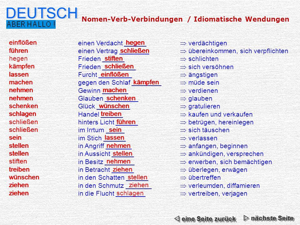 DEUTSCH Nomen-Verb-Verbindungen / Idiomatische Wendungen hegen
