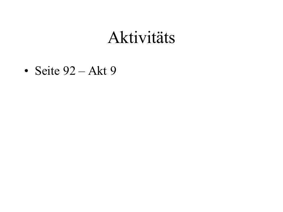Aktivitäts Seite 92 – Akt 9