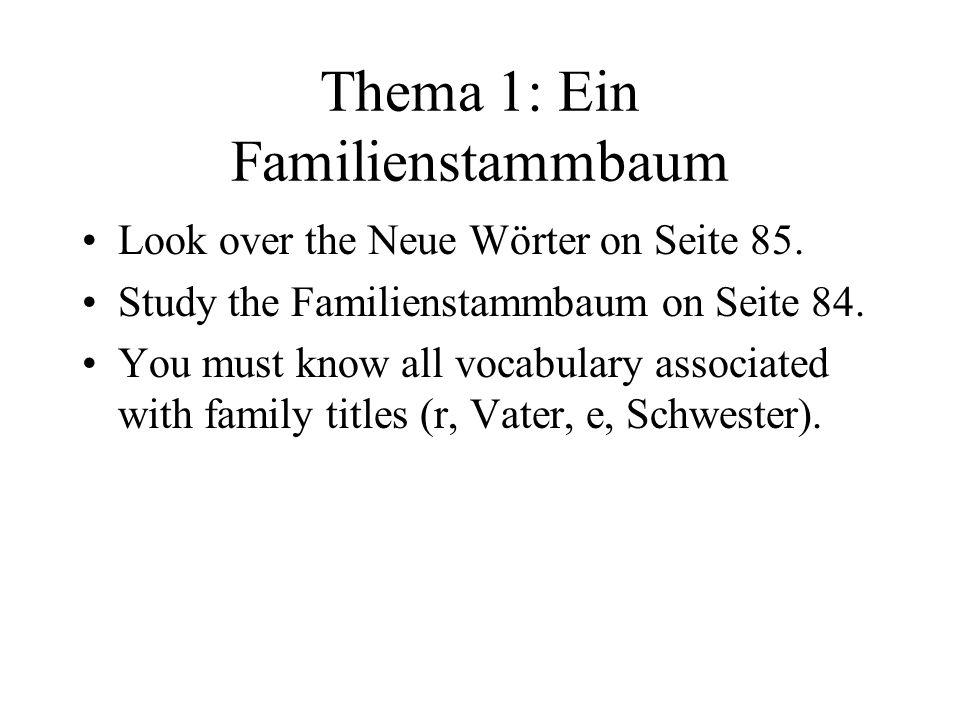Thema 1: Ein Familienstammbaum