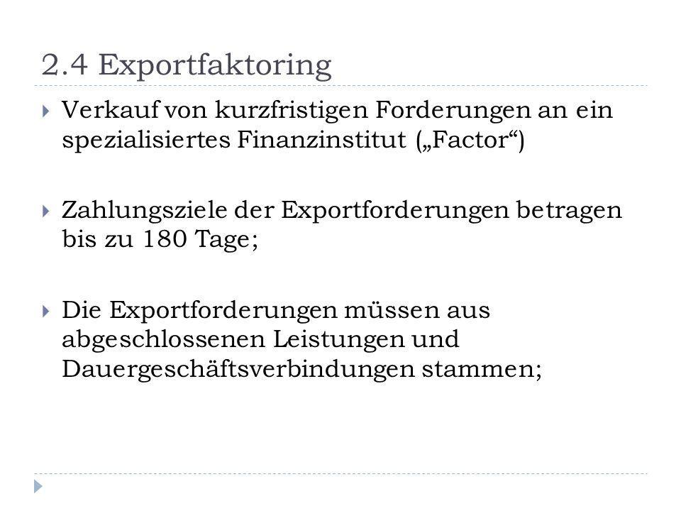 """2.4 Exportfaktoring Verkauf von kurzfristigen Forderungen an ein spezialisiertes Finanzinstitut (""""Factor )"""