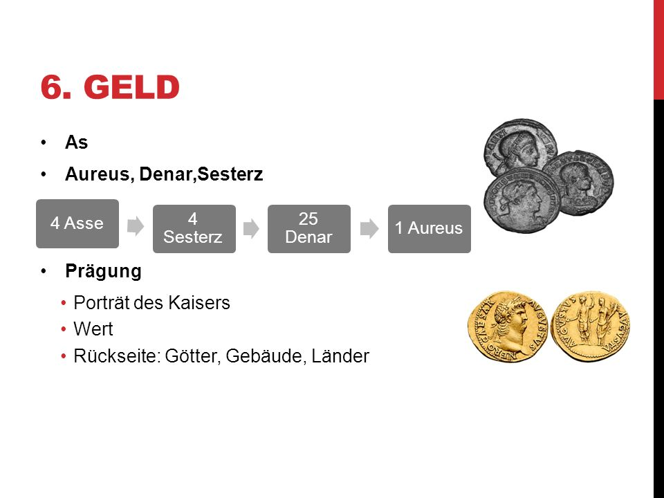 6. Geld As Aureus, Denar,Sesterz Prägung Porträt des Kaisers Wert