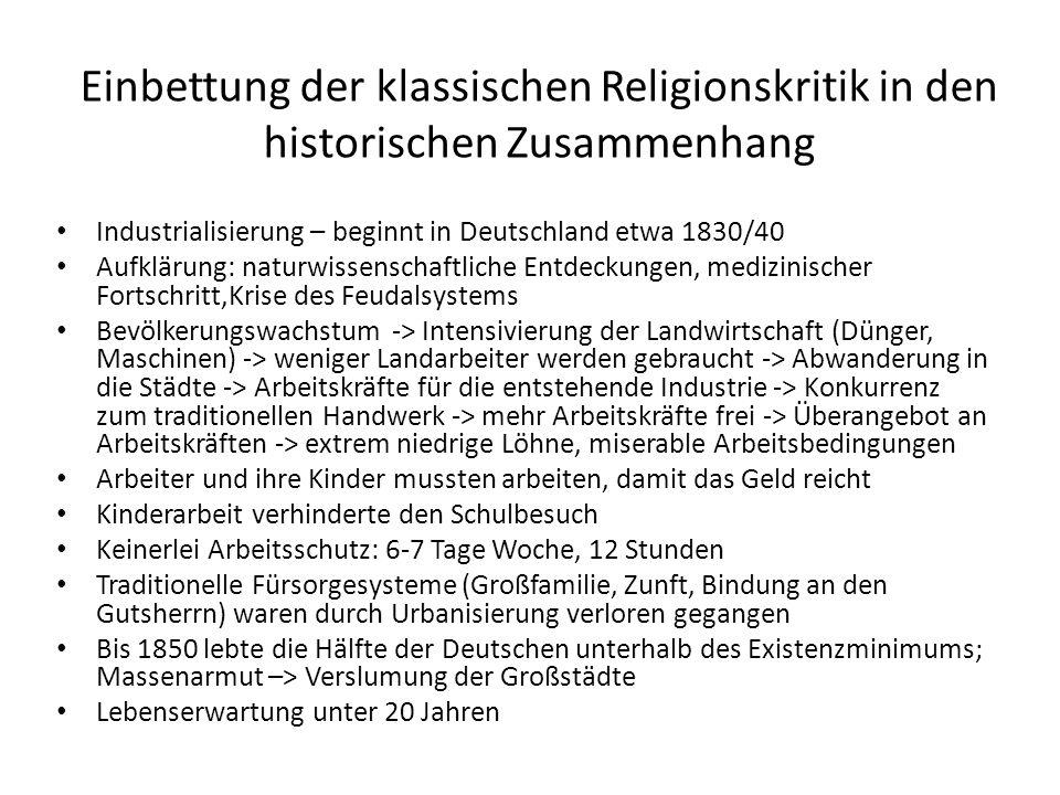 Einbettung der klassischen Religionskritik in den historischen Zusammenhang