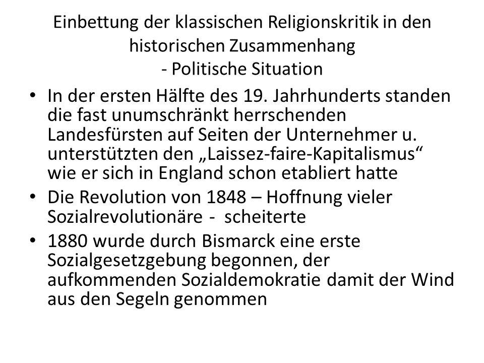Einbettung der klassischen Religionskritik in den historischen Zusammenhang - Politische Situation