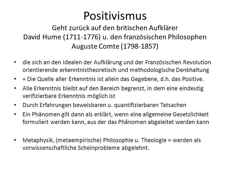 Positivismus Geht zurück auf den britischen Aufklärer David Hume (1711-1776) u. den französischen Philosophen Auguste Comte (1798-1857)