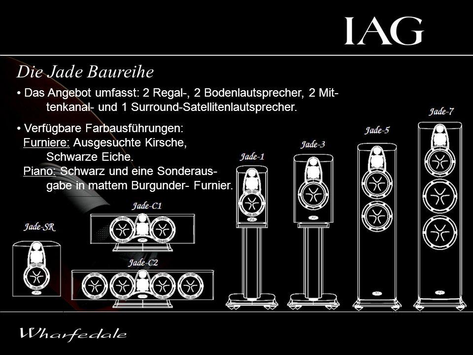 Die Jade Baureihe Das Angebot umfasst: 2 Regal-, 2 Bodenlautsprecher, 2 Mit- tenkanal- und 1 Surround-Satellitenlautsprecher.
