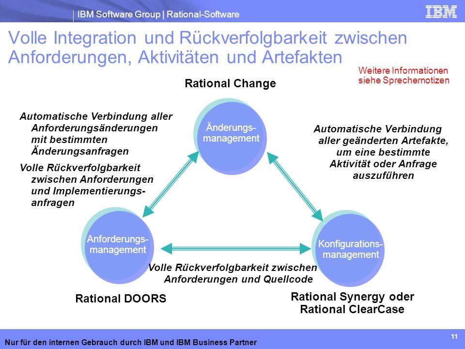 Volle Integration und Rückverfolgbarkeit zwischen Anforderungen, Aktivitäten und Artefakten