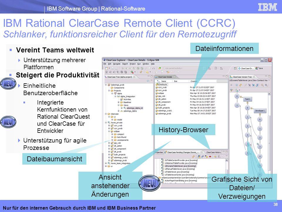 IBM Rational ClearCase Remote Client (CCRC) Schlanker, funktionsreicher Client für den Remotezugriff
