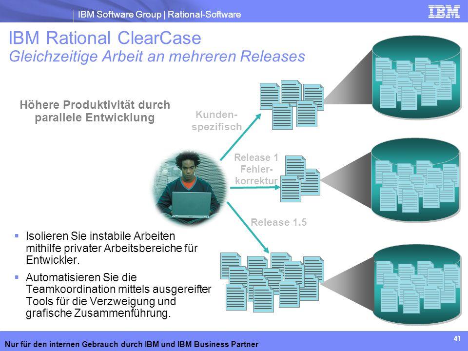 IBM Rational ClearCase Gleichzeitige Arbeit an mehreren Releases
