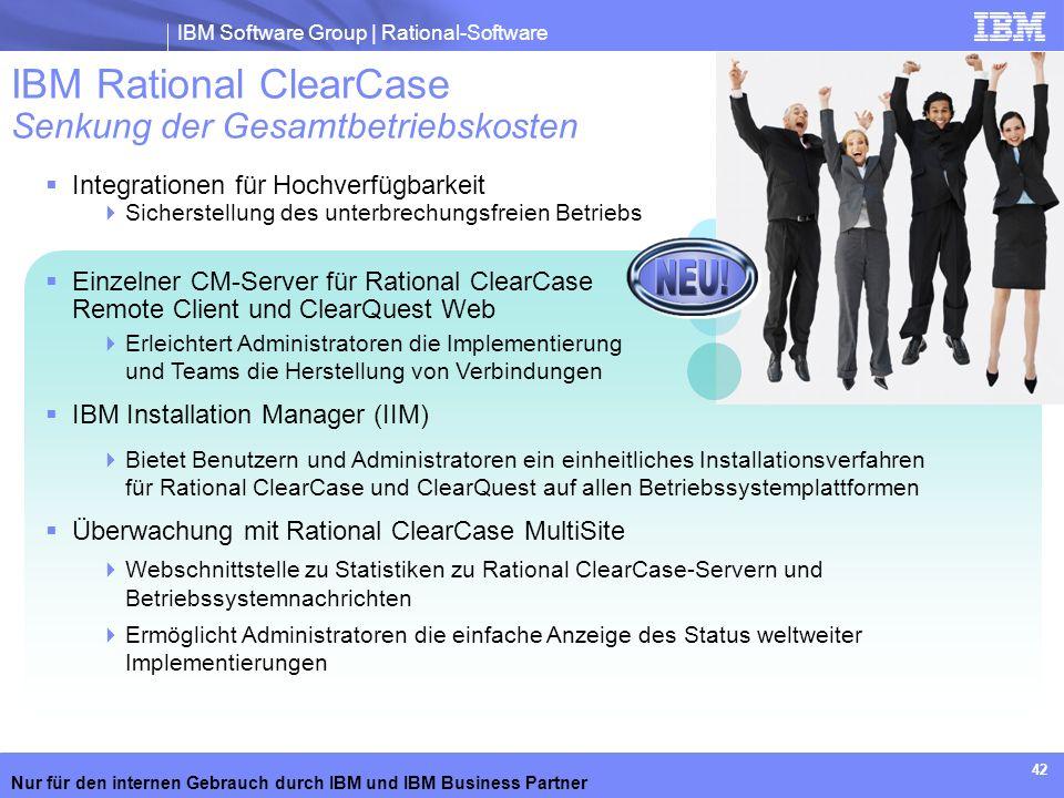 IBM Rational ClearCase Senkung der Gesamtbetriebskosten