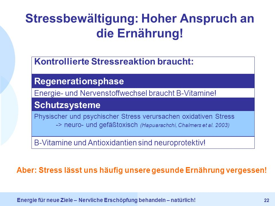 Stressbewältigung: Hoher Anspruch an die Ernährung!
