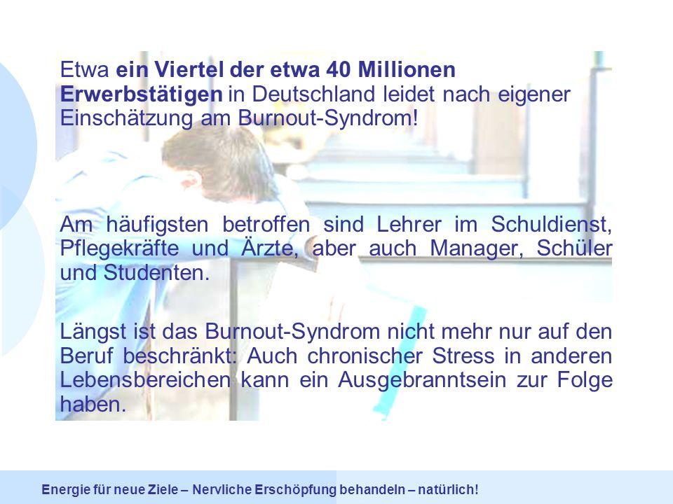 Etwa ein Viertel der etwa 40 Millionen Erwerbstätigen in Deutschland leidet nach eigener Einschätzung am Burnout-Syndrom!