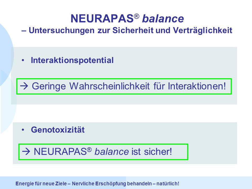 NEURAPAS® balance – Untersuchungen zur Sicherheit und Verträglichkeit