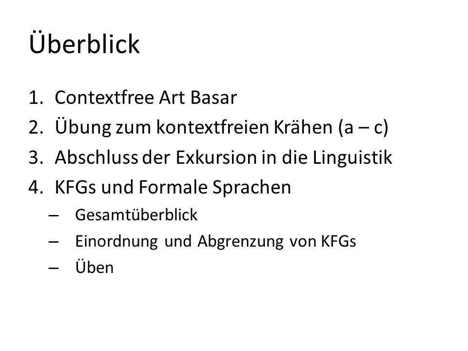 Überblick Contextfree Art Basar Übung zum kontextfreien Krähen (a – c)