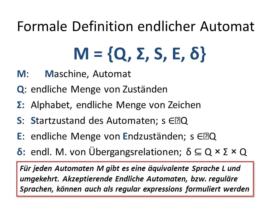 Formale Definition endlicher Automat