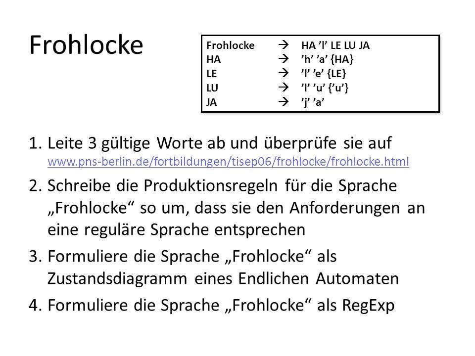 Frohlocke Frohlocke  HA 'l' LE LU JA. HA  'h' 'a' {HA} LE  'l' 'e' {LE} LU  'l' 'u' {'u'}