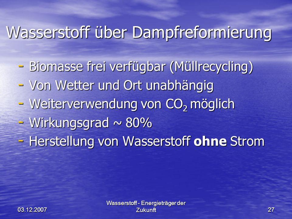 Wasserstoff über Dampfreformierung