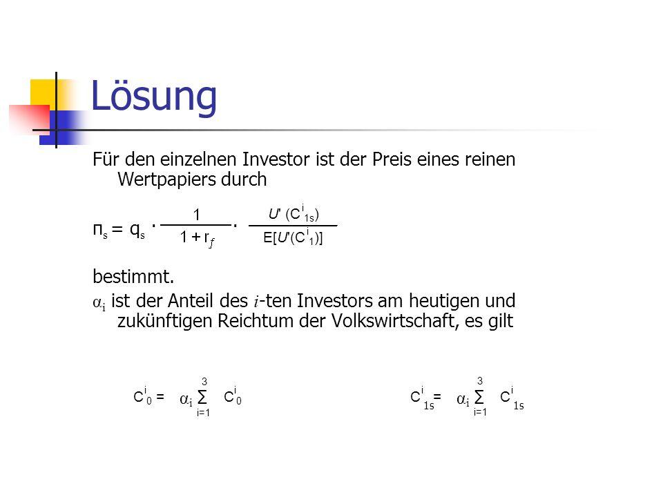 Lösung Für den einzelnen Investor ist der Preis eines reinen Wertpapiers durch. πs = qs · ·