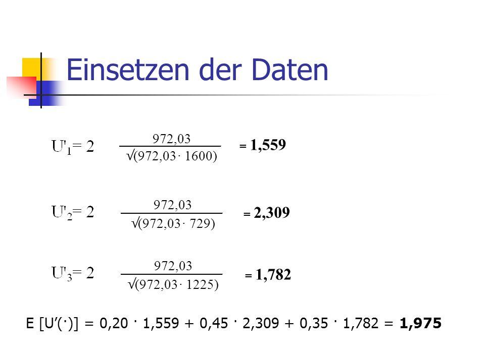 Einsetzen der Daten 972,03. √ (972,03. · 1600) = 1,559. 972,03. √ (972,03. · 729) = 2,309.