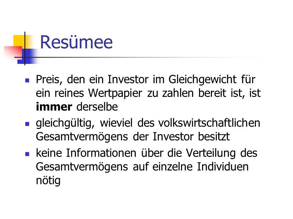 Resümee Preis, den ein Investor im Gleichgewicht für ein reines Wertpapier zu zahlen bereit ist, ist immer derselbe.